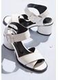 Elle Kalın Topuklu %100 Deri Ayakkabı Beyaz